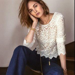 Sezane Daysi lace blouse in ecru size 4/small